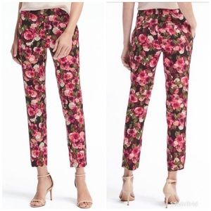 BANANA REPUBLIC Avery Floral Ankle Pant Pink Black